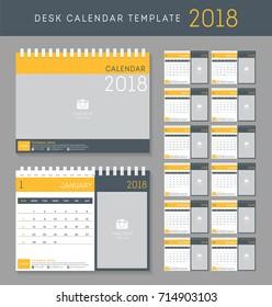 Desk calendar 2018 vector design template. Set of 12 Months.
