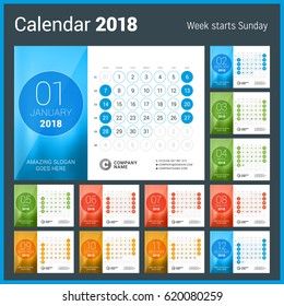 Desk Calendar for 2018 Year. Vector Design Print Template. Week Starts on Sunday. Calendar Grid with Week Numbers