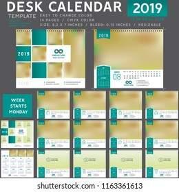 Desk calendar 2019, Desk calendar 2020, desktop calendar template, purple calendar, Week starts on Monday, Vector Illustration, suitable for company, spiral  001