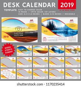 Desk calendar 2019, Desk calendar 2020, desktop calendar template, red calendar, Week starts on Sunday, Vector Illustration, spiral