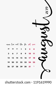 Desk Calendar 2019 Design. Page 8 of 12 - August 2019. 12 Months Pages Set.  Table Diary Design Layout. Vector and Editable Organizer Template A4 size. Weeks starts from Monday.