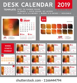 Desk calendar 2019. desktop calendar template. red calendar. Week starts on Monday. Vector Illustration. suitable for company spiral calendar 001