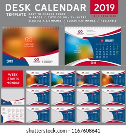 Desk calendar 2019. Desktop calendar template. Week starts on Monday. Vector Illustration. suitable for company. spiral calendar