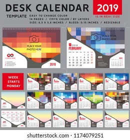 Desk calendar 2019, desktop calendar template, red calendar, Week starts on Monday, Vector Illustration, suitable for company, spiral calendar