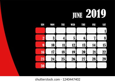 Desk calendar 2019 June design layout template vector for corporate business week start on Sunday