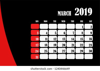 Desk calendar 2019 March design layout template vector for corporate business week start on Sunday