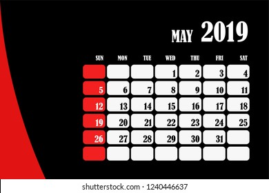 Desk calendar 2019 May design layout template vector for corporate business week start on Sunday