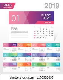 Desk Calendar 2019. Simple Colorful Gradient minimal elegant desk calendar template in white background