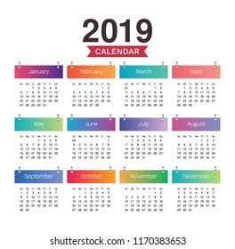 Desk Calendar 2019. Simple Colorful minimal elegant desk calendar