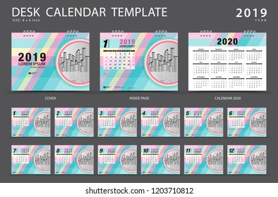 Desk calendar 2019 template. Set of 12 Months. Planner. Week starts on Sunday. Stationery design. advertisement. Vector layout. pastel cover. business brochure flyer.