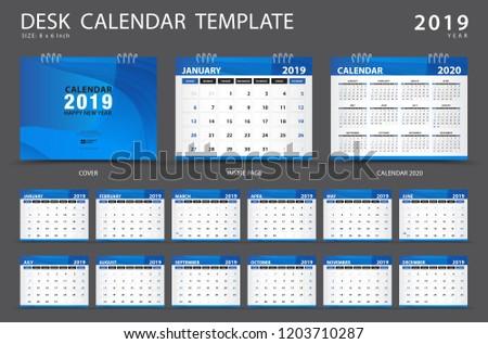 Desk Calendar 2019 Template Set 12 Stock Vector Royalty Free