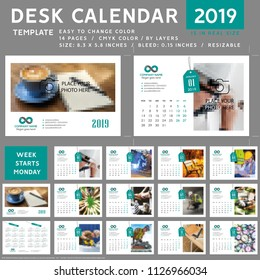 Desk calendar 2019, template vector
