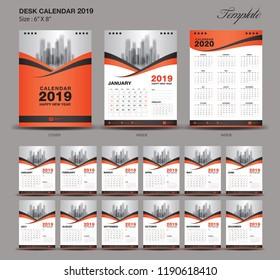 Desk Calendar 2019 year size  6 x 8 inch template, orange calendar 2019 template, Set of 12 Months, Week Starts Monday, wall calendar, flyer design, cover template vector, advertisement creative