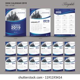 Desk Calendar 2019 year size  6 x 8 inch template, blue calendar 2019 template, Set of 12 Months, Week Starts Monday, wall calendar, flyer design, cover template vector, advertisement creative