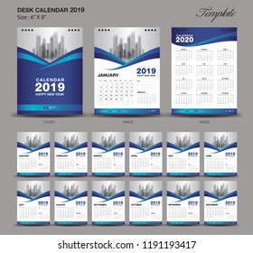 Desk Calendar 2019 year size  6 x 8 inch template, blue calendar 2019 template, Set of 12 Months, Week Starts Monday, wall calendar, flyer design, cover template vector, advertisement creative