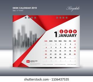 Desk Calendar 2019 Year Template vector design, January Month