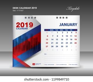 Desk Calendar 2019 Year Template Vector Stock Vector Royalty Free