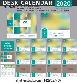 Desk calendar 2020, desktop calendar template, red calendar, Week starts on Monday, Vector Illustration, suitable for company, spiral calendar. Teal