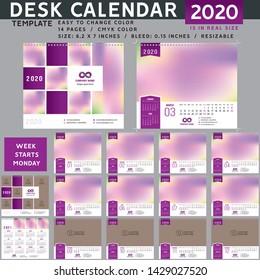 Desk calendar 2020, desktop calendar template, red calendar, Week starts on Monday, Vector Illustration, suitable for company, spiral calendar. Purple