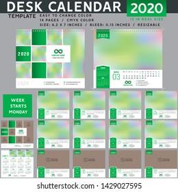 Desk calendar 2020, desktop calendar template, red calendar, Week starts on Monday, Vector Illustration, suitable for company, spiral calendar. Green