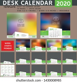 Desk calendar 2020. Desktop calendar template. Week starts on Monday. suitable for company. spiral calendar. green calendar