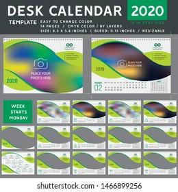 Desk calendar 2020, desktop calendar template, green calendar, Week starts on Monday, Vector Illustration, spiral calendar. green