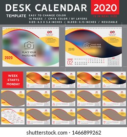 Desk calendar 2020, desktop calendar template, green calendar, Week starts on Monday, Vector Illustration, spiral calendar. red