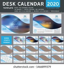 Desk calendar 2020, desktop calendar template, green calendar, Week starts on Monday, Vector Illustration, spiral calendar. Blue light
