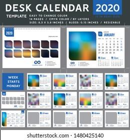 Desk calendar 2020, desktop calendar template, blue calendar, week starts on Monday, Vector Illustration, suitable for company spiral calendar