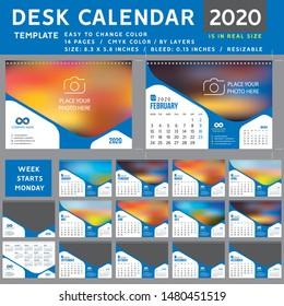 Desk calendar 2020, desktop calendar template, blue calendar, Week starts on Monday, Vector Illustration, suitable for company, spiral calendar
