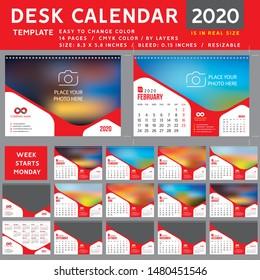 Desk calendar 2020, desktop calendar template, red calendar, Week starts on Monday, Vector Illustration, suitable for company, spiral calendar