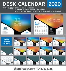 Desk calendar 2020, desktop calendar template, blue calendar, Week starts on Monday, Vector Illustration, suitable for company, spiral calendar, 2020