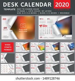 Desk calendar 2020, desktop calendar template, red calendar, Week starts on Monday, Vector Illustration, torn, spiral calendar, 2020