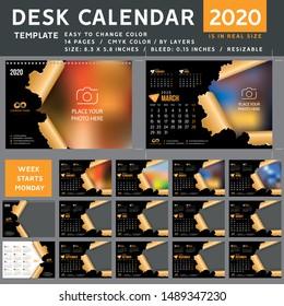 Desk calendar 2020, desktop calendar template, orange calendar, Week starts on Monday, Vector Illustration, torn, spiral calendar, 2020