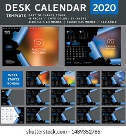 Desk calendar 2020, desktop calendar template, blue calendar, Week starts on Monday, Vector Illustration, torn, spiral calendar, 2020