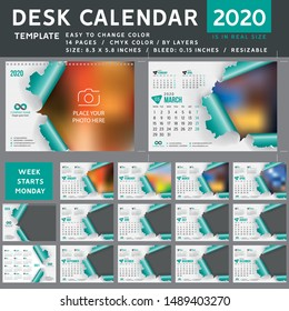 Desk calendar 2020, desktop calendar template, teal calendar, Week starts on Monday, Vector Illustration, torn, spiral calendar, 2020