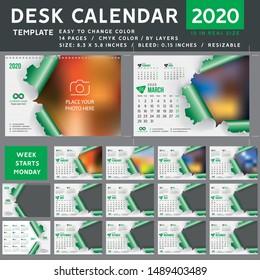Desk calendar 2020, desktop calendar template, green calendar, Week starts on Monday, Vector Illustration, torn, spiral calendar, 2020