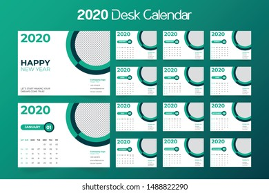 Desk Calendar 2020 template - 12 months included - Size 8.3 x 5.8 in - Color green