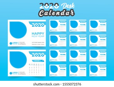 Desk Calendar 2020 template - 12 months included - Size 8.2 x 5.8 in - Color blue
