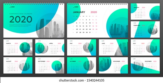 Desk Calendar 2020 template for  business and construction. Week starts on Monday. Set of 12 calendar pages designs print layout. Wall calendar planner templates.