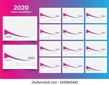 desk calendar 2020 template design