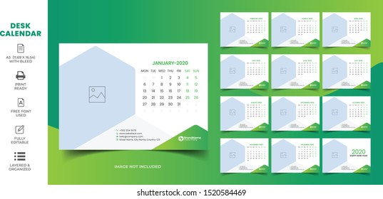 Desk Calendar 2020 Template, Editable 2020 Desk Calendar with green. Modern and Creative New year Calendar