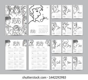 Desk calendar 2020 template set, Calendar 2021-2022, Lettering calendar, hand-drawn cartoon hipster people vector illustration Can be used for postcard, gift card, banner, poster and printable