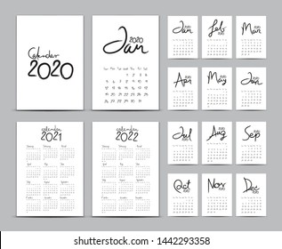 Desk calendar 2020 template set, Calendar 2021-2022, Lettering calendar, hand-drawn vector illustration, black and white color, Set of 12 Months, Week starts Sunday, Stationery, cover design