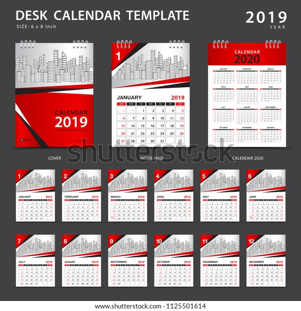 Desk Calendar 2020.Desk Calendar 2020 Template Set 12 Stock Vector Royalty Free
