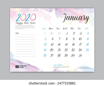 Desk Calendar for 2020 year, January 2020 template, week start on sunday, planner design, stationery, business printing, watercolor background, vector eps10,  8 x 6 inch size