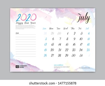 Desk Calendar for 2020 year, July 2020 template, week start on sunday, planner design, stationery, business printing, watercolor background, vector eps10,  8 x 6 inch size