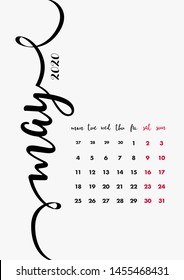 Desk Calendar 2020 Year. May Month. Week starts from Monday, marked Weekend. Vector Template 12 months Page.