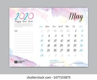Desk Calendar for 2020 year, May 2020 template, week start on sunday, planner design, stationery, business printing, watercolor background, vector eps10,  8 x 6 inch size