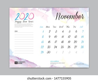 Desk Calendar for 2020 year, November 2020 template, week start on sunday, planner design, stationery, business printing, watercolor background, vector eps10,  8 x 6 inch size